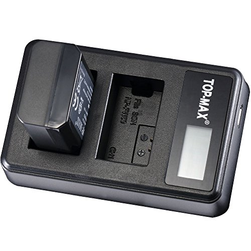 TOP-MAX 2X NP-FW50 Battery + Dual USB Charger LED Display for Sony Alpha a6500, a6300, a6000, a7s, a7, a7s ii, a5100, a5000, a3000, a7r, a7 ii, NEX 3/5/7 Series