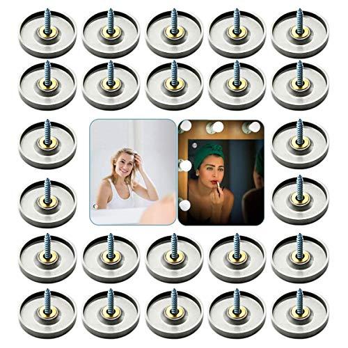 24 Juegos Tornillos para Espejo, 25mm Acero Inoxidable Cubiertas de Tornillo Decorativas Clavos de Espejo, Latón, con Tapa, para Decoración de Espejo Mesas de té Armarios Marcos de Cuadros