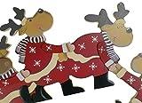 khevga Weihnachtsdeko Purzelnde Elche für Türrahmen-Deko aus Holz (Purzelnde Elche) - 5