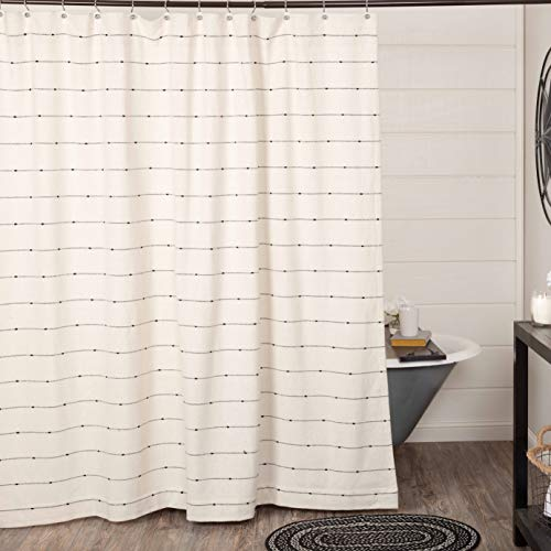 "Farmcloth Stripe Shower Curtain, 72"" x 72"", Urban Rustic Farmhouse Bathroom Decor, Natural Cream Woven w/ Black Stripes"