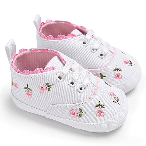 Zapatos de bebé, recién Nacidos niñas Cuna Floral Zapatos de Suela Suave Antideslizante Zapatillas de Lona 0-18 Meses (0-6 Meses, White)