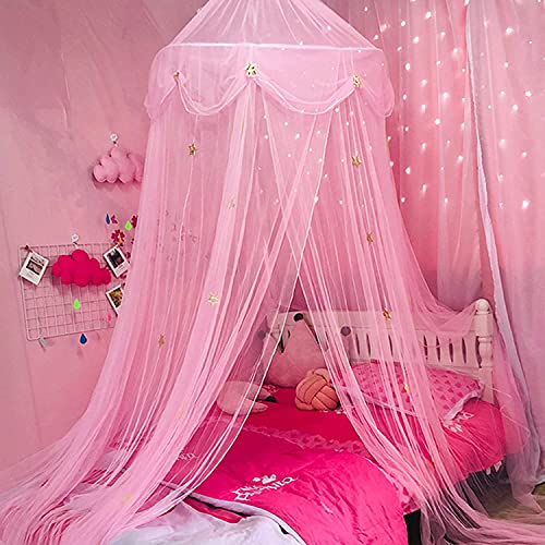 Bed Canopy Mosquito Net Naturals Bed Canopy with Decorative Stars Bed Canopy Net for Adults Outdoor Sky Blue