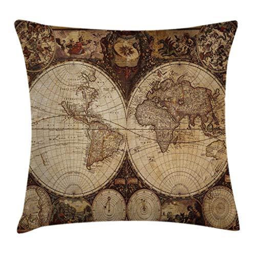Funda de cojín con diseño de mapa del mundo, mapa del viejo mundo dibujado en la década de 1720, estilo nostálgico, arte, Atlas histórico, diseño vintage, cuadrado decorativo, 18 'x 18', marrón pálido