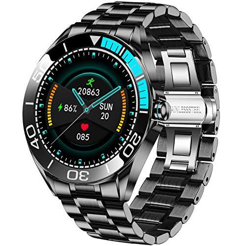 LIGE Reloj Inteligente Hombre de 1,3'', Monitor de Actividad con Pantalla Táctil, Resistente al Aagua IP67, Reloj de Aacero Inoxidable con Cronómetro para Android iOS