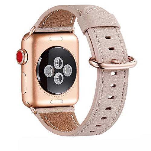 WFEAGL Compatibile con Cinturino Apple Watch 38mm 40mm 42mm 44mm, Multicolore Pelle Cambiamento Cinturini Compatibile con Watch Serie 5 Serie 4/3/2/1(38mm 40mm,Rosa Chiaro+Adattatore Oro Rosa)