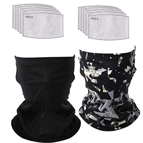 VIGEIYA Neck Gaiter with Ear loops and Carbon Filters Cool Face Scarf Bandana for Youth Women Men 12Pcs(Gray Black)