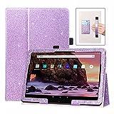 DMLuna Funda para tablet Fire HD 10 de 11ª generación, Fire HD 10 Plus 2021, funda de piel sintética con función atril y correa para tarjetas, color morado
