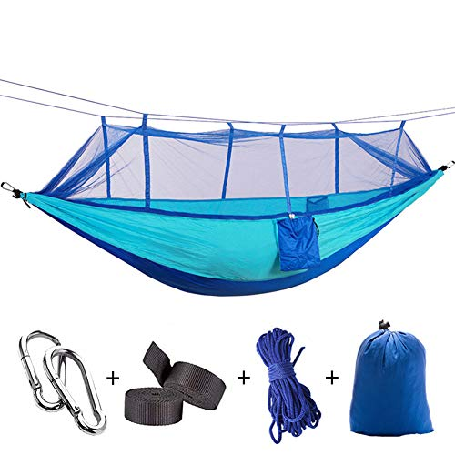 Yeeco Double Camping Hammock, Portable Lightweight Nylon Parachute Hammock with Mosquito Net and Tree Straps Camping Hanging Bed for Outdoor Camping Hiking Travel Yard Backpacking - Blue