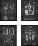 Wine Patent Wall Art Prints - set of Four (8x10) Unframed - wall art decor for wine lovers