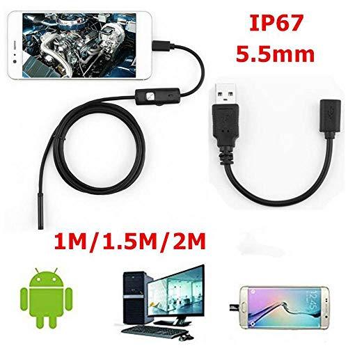 1/1,5 / 2M weiches Kabel wasserdicht Inspektionsendoskop 7mm 5,5mm Endoskop Kamera HD USB Endoskop mit 6 LEDs für Android PC,5.5MM2M