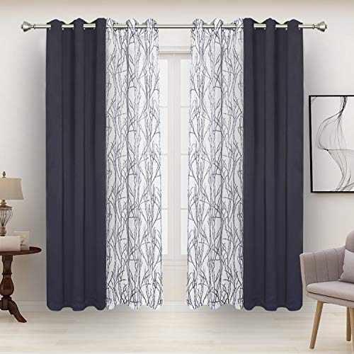 BONZER Mix and Match Curtains - 2 Pieces Branch Print Sheer Curtains and 2 Pieces Blackout Curtains for Bedroom Living Room Grommet Window Drapes, 37x84 Inch/Panel, Grey Dark, Set of 4 Panels