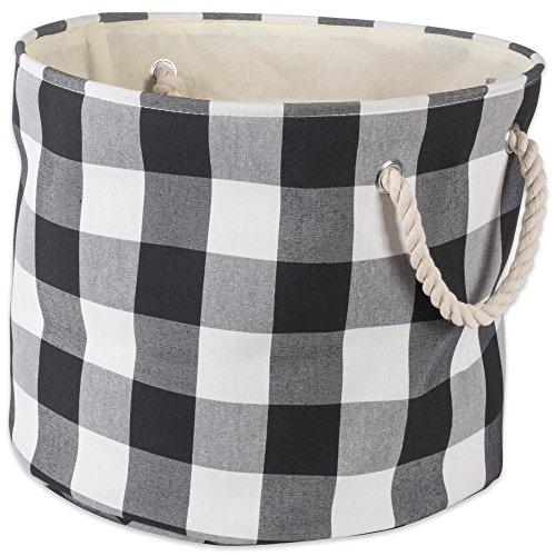 DII Basket Buffalo Check Storage Bin, Large Round, Black & White