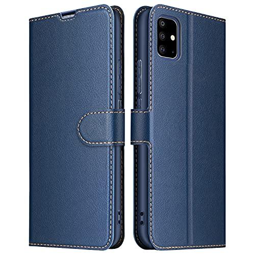 ELESNOW Funda para Samsung Galaxy A71, Cuero Premium Fundas para Samsung Galaxy A71 Carcasa Case (Azul Marino)