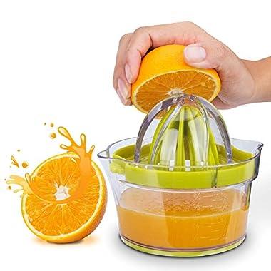 Citrus Juicer(2018 UPGRADE 4 in 1), Elindio Orange Manual Hand Squeezer Space Saving Kitchen Juicer with Garlic Grater, Anti-Slip Non-Marking Silicone Base, Multi-Reamers for Filter Egg white