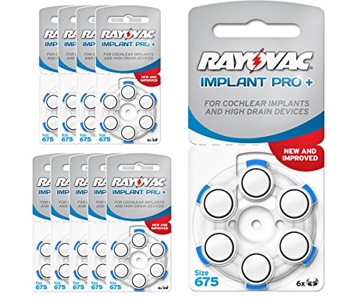 60Batterien Hörgeräte Rayovac Implantat Pro +/Batterie Gehörschutz Implantat Glockenblume/AE675