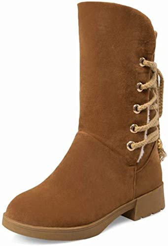 ZHRUI Stiefel para damen - Nubucks de tacón Medio Cálidas Stiefel de   Media Stiefel de tacón bajo con Cordones   35-43 (Farbe   braun, tamaño   EU 40)