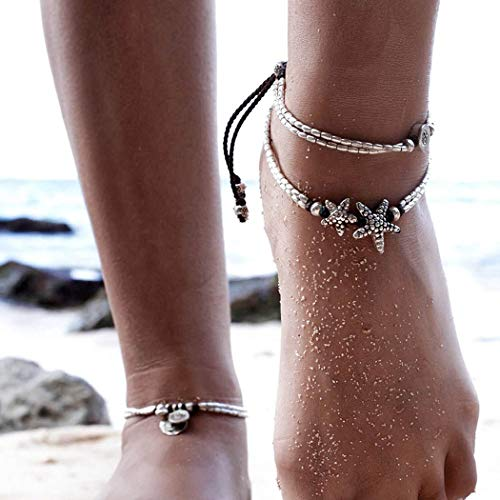 Ajacry Boho Layered Anklets Chains Silver Starfish Ankle Bracelet Summer Beach Foot Jewelry Adjustable for Women and Teen Girls (starfish)