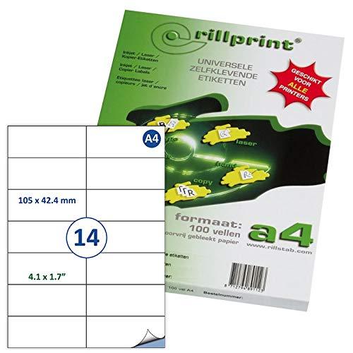 Rillstab RI89118 - Pack de 14 etiquetas autoadhesivas, 105 x 42.4 mm, A4, color blanco