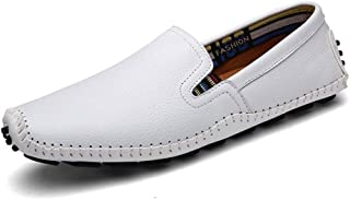 LFSP Mens Penny Loafers Boat Shoes Driving Loafer for Men Boat Moccasins Slip On Style PU Leather Comfortable Round Handmade Flats Shoes A (Color : White, Size : 41 EU)