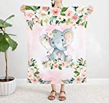 Elephant Baby Girl Blanket, Elephant Crib Bedding, Elephant Nursery Theme Baby Blanket, Pink Floral Newborn Coming Home Blanket, Bedding Swaddle Blanket (40' x 50')