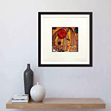 i-zehibho-i Wall Art - Charles Rennie Mackintosh Stained Glass - Artwork Decor for Home,Office,School and Cafe - Art Print 12x12in with Frame