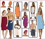 NATURA WALK Damen und Herren Saunakilt, Bio-Baumwolle,NEUHEIT: Schlingenfeste Qualität, kein Fädenziehen mehr (Hellblau, Damen L - XL)