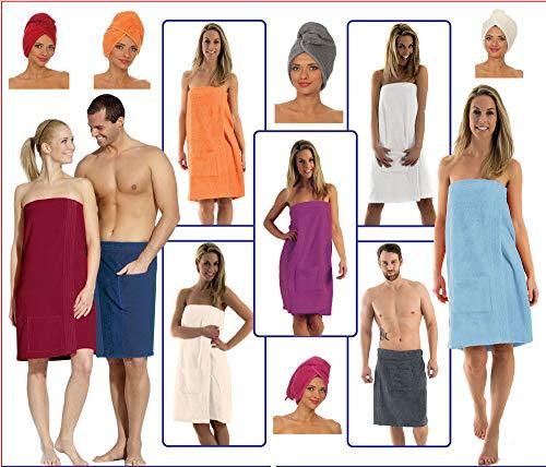 NATURA WALK Damen und Herren Saunakilt, Bio-Baumwolle,NEUHEIT: Schlingenfeste Qualität, kein Fädenziehen mehr (Weiss, Damen S - L)