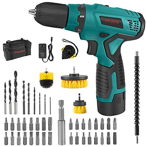 Abeden Cordless Drill/Driver Kit with 20Ah Lithium Battery and Charger12V Power Drill Tool Set171 Torque Setting280 Inlb Torque3/8#039#039 Keyless ChuckWood Bricks Walls Metal
