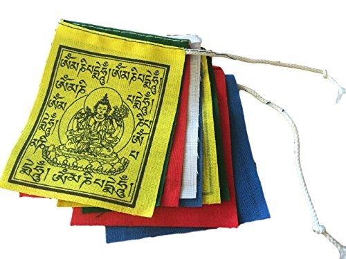 HANDMADE MINI BUDDHA OF COMPASSION PRAYER FLAGS SET OF 10 FLAGS