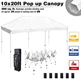 LeeMas Inc 10x20' Outdoor Business Instant Tent Pop Up Canopy 5-Level Height Adjustment for Event Wedding Party Craft Show Music Festival (White)