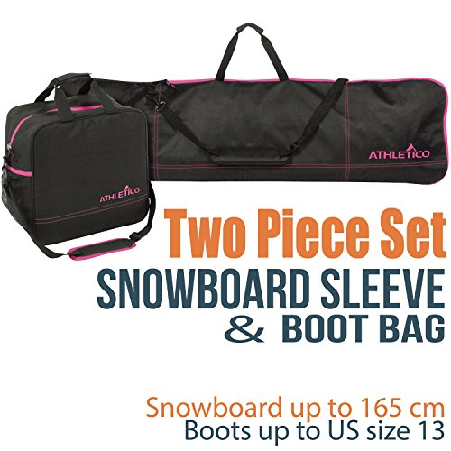 Athletico Two-Piece Snowboard and Boot Bag Combo | Store & Transport Snowboard Up to 165 cm and Boots Up to Size 13 | Includes 1 Snowboard Bag & 1 Boot Bag (Black with Pink Trim)