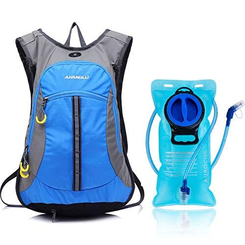 ANMEILU Fahrradrucksack, Trinkrucksack mit Trinkblase 2l, 15L Leichter Skirucksack, Sporttaschen zum Radfahren Wandern Camping Bergsteigen Skifahren Trekking (Blau)