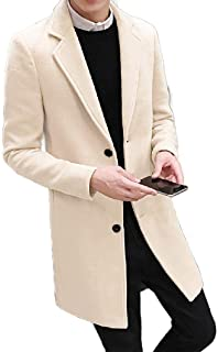 neveraway Men's Big and Tall Single-Breasted Woolen Trench Jacket Worsted Coat