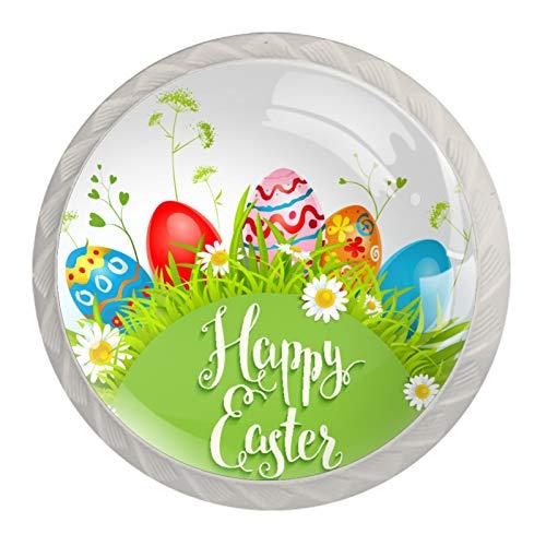 Tiradores de gabinete y pomos para gabinetes de cocina 1.18 pulgadas tiradores de cajón de huevos de Pascua (paquete de 4)