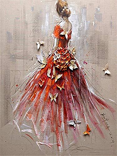 Mkpeng 5DDiamant-MalereiFullDrillKit Dame in rot ZahlenDIY5DErwachseneDiamantPaintingStickereiKristallStrassKinderGemäldeKreuzstichBilderArtsHandwerkZuhauseWanddekorat 40x60cm