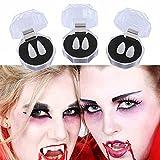 3 Pairs Halloween Vampire Teeth with Adhesive Glue, Halloween Cosplay Decorations Sharp Teeth Halloween Party Horror Makeup Props
