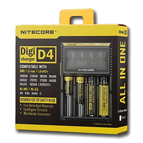 Nitecore PS Hunters Digicharger D4 LCD Display Universal Intelligent oplader voor Li-ion IMR LiFePO4 NI-MH NI-CD accu