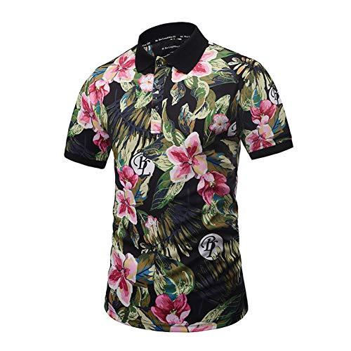 XJWDTX Floral Pflanze Blütenblätter Gedruckt Kurzarm-Polo-Shirt Straße Jugend Männer Und Frauen Flut