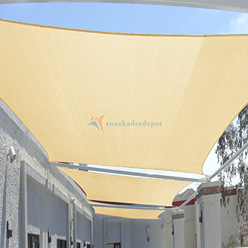 TANG Sunshades Depot 12' x 16' Sun Shade Sail Rectangle Permeable Canopy Beige Customize Commercial Standard 180 GSM HDPE