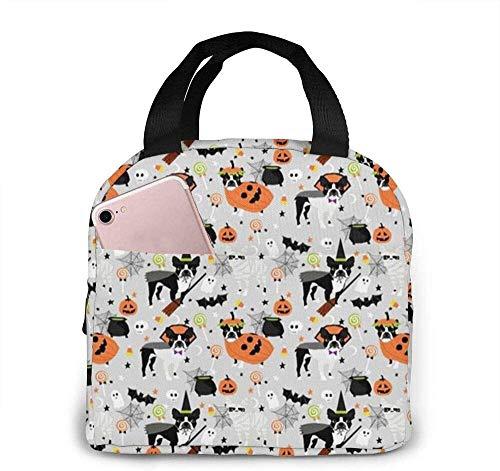 Disfraz de Boston Terrier Raza de Halloween Bruja Calabaza Caramelo Lindo perro Gre Bolsas de almuerzo Fiambrera trmica resistente al agua