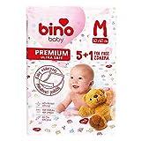 Bino Baby Wickelauflage, Wickelunterlage für Babys (Wegwerf-Wickelunterlagen für unterwegs, 5+1 kostenlos, schonend und ohne Chlor gebleicht, extra saugfähig, Maße 60x60 cm), Weiß