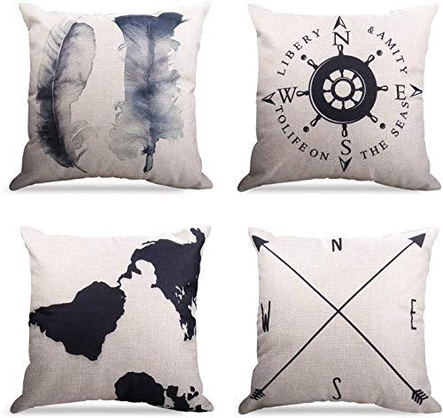 4er Set Dekorativ Kissenbezug Geometrische Muster, Sofa Büro Dekor Kissenhülle aus Baumwoll und Leinen (Geography Muster, 50X50cm)
