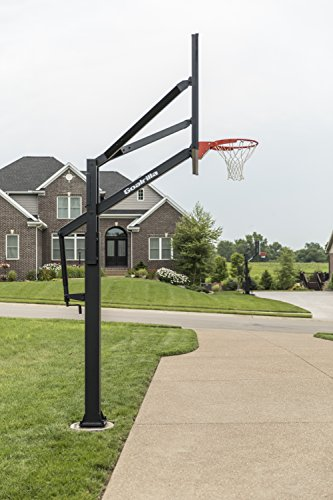 """Goalrilla FT72 Basketball Hoop with Tempered Glass Backboard, Black Anodized Frame, and In-ground Anchor System, 72"""" Black, 72″ Backboard (B3017W-1)"""