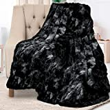 Everlasting Comfort Luxury Faux Fur Throw Blanket - Super Soft, Fluffy, Warm, Cozy, Plush, Fuzzy, Thick, Large - for Couch, Sofa, Living Room or Bed - Fall & Winter Accessories - 50'x65' (Black)