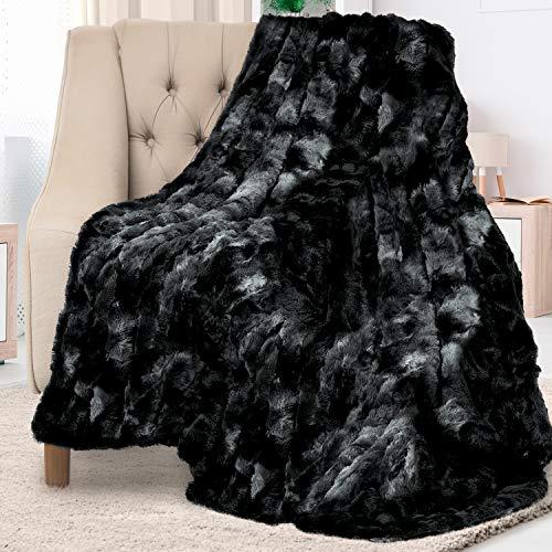 Manta de piel sintética de lujo Everlast, ultra suave y esponjosa, manta de felpa para sofá, cama y sala de estar, otoño, invierno y primavera, 50 x 65 cm, color negro
