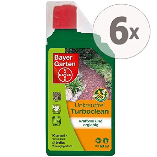 Gardopia Sparpaket: 6 x 1 Liter Bayer Garten Unkrautfrei Turboclean Unkrautvernichter Totalherbizid Plus Zeckenzange mit Lupe