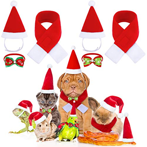 Frienda 6 Piezas Disfraces de Mascota de Navidad Pajarita Collar Bufanda Gorro de Papa Noel de Gato Perro para Gatos Perros Mascotas Navidad Nuevo Años