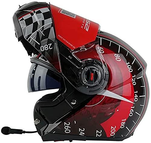 Casco Abatible para Motocicleta con Casco Bluetooth, Doble Visera,Protector Solar,Abatible hacia Arriba,Cascos Modulares para Motocross Aprobados por Dot ECE(Color:L;Size:2XL)