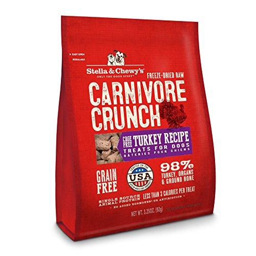 Stella & Chewy's Freeze-Dry Carnívore Crunch Cage-Free Turquía Receta Sin Granos para Perros, Bolsa de 3.5 onzas
