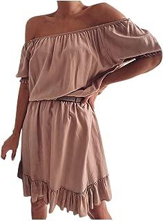 Women's Sexy Off Shoulder Dress Casual Halter Irregular Pure Color Dress Party Short Dress Gogoodgo